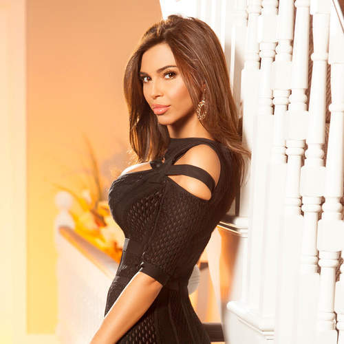 Elegant black night dress on perfect body.